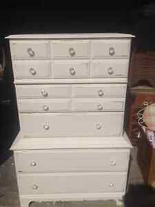 Lovely creamy white vintage highboy Stratford Kitchener Area image 1