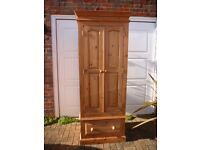 Beautiful Solid Pine Double Wardrobe with Drawer in VGC