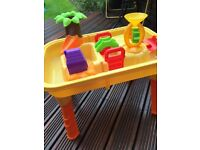 Toddler Water or Sand Play Station Yellow with Orange legs, various activities