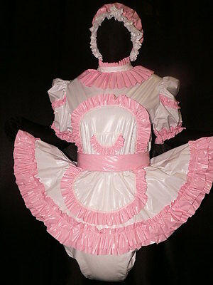 Adult Baby Sissy Zofe pvc dress with sewn in diaper panty*kleid & Spreizhose