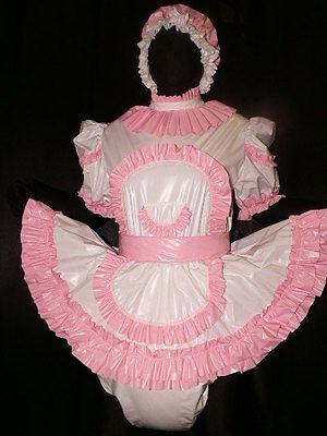 Adult Baby Sissy Zofe pvc dress with sewn in diaper panty*kleid & Spreizhose