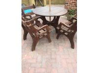 Garden table and chairs - wood