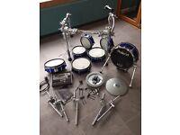 7 Piece Custom Blue Roland TD20KX Drums, Module and VH-12 Hats