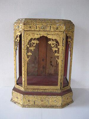 Antique Burmese gold gilt wooden temple