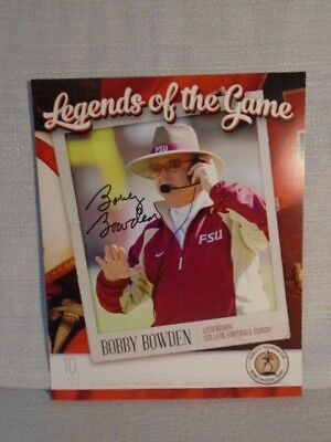 Bobby Bowden Signed Florida State 2015 Bronko Nagurski Football 8X10 Photo