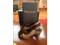 Nearly new beautiful Tamaris Taupe shoes/sandals. Size 40 (UK 6.5 -7). Heels approximately 10 cm