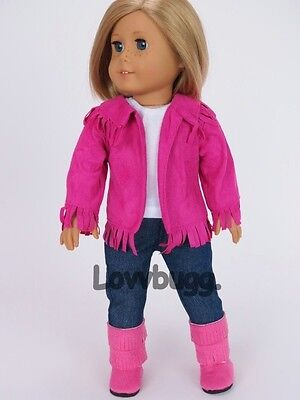 "Lovvbugg Pink Western Fringe Pants Complete Set for 18"" American Girl Doll Clothes"
