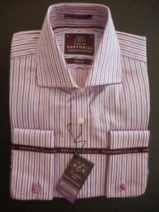 M&S SARTORIAL MEN'S SHIRT SUPERIOR FINE COTTON PINK MIX SIZE 15 BNWT RRP £45