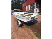 11ft Dell Quay Dory with galvanised trailer, winch and jockey wheel. £415.00 ono