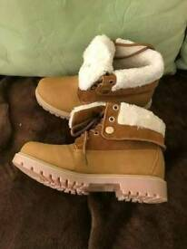 Faux Fur cuffed Tan boots