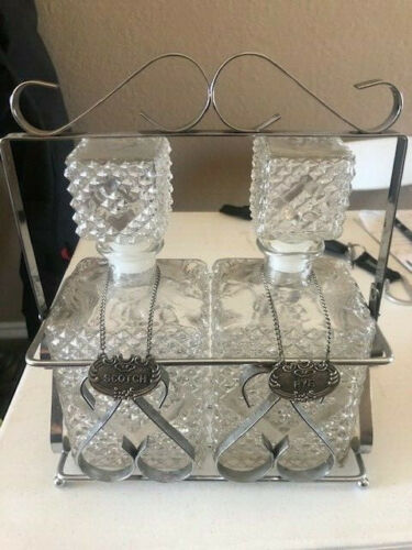 Vintage Square Diamond Glass Rye & Scotch Decanter Set ~ Metal tags & Stand