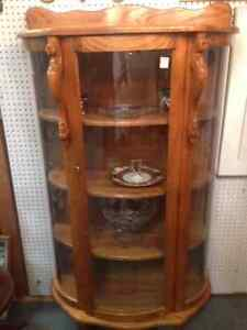 Spectacular Oak Bow Front China Cabinet