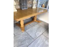 Dining Table - double pedestal oak dining table.
