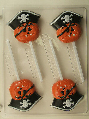 PUMPKIN PIRATE WITH EYE PATCH LOLLIPOP CHOCOLATE CANDY MOLD DIY HALLOWEEN FAVORS