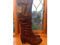 BRAND NEW LADIES BURGUNDY LEATHER FULL LENGTH BOOTS
