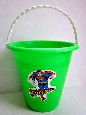 Vintage 1978 Superman Sand Bucket DC Comics Plastic Cartoon Beach Pail  - Superman Bucket