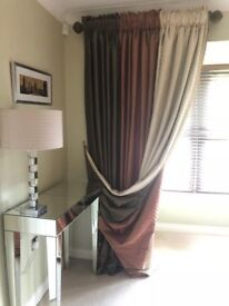 Beautiful Pair of Floor Length Curtains - Ivory/Cream, Copper and Brown
