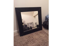 2 Leather Padded Mirrors Black