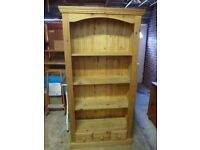 Beautiful Solid Pine Bookcase with Drawers