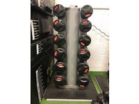 Dumbbells and rack 12.5kg - 25kg. 6 pairs - increments of 2.5kg