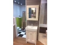 Ex Display Traditional Vanity/Basin Set with tap , waste & Mirrored Cabinet