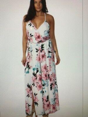 Off White Big Floral Print V-Neck Split Front Jumpsuit Size 1X New