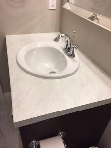 Bathroom counter, sink and tap