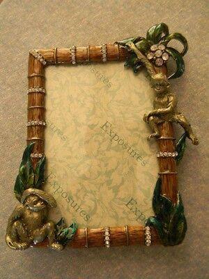 "EXPOSURES Picture Photo Frame Metal Jeweled Enameled MONKEYS Jungle 6"" x  5"" NEW"