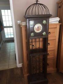 Shabby chic clock and wine rack