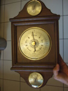 vintage Weather Station ,wood thermometer, Barometer, Humidity ,