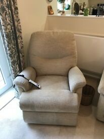 Electric riser recliner armchair. AS NEW. GREAT BARGAIN
