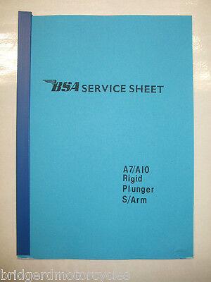 BSA SERVICE SHEET A7 A10 RIGID PLUNGER SWINGING ARM A4 SHEET