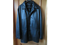 "Men's M&S Black Leather Fully Lined Jacket , Size Large 41"" - 43"""