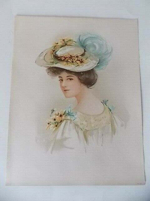 Original Victorian Lithograph Lady With Flowered Hat 98 E Copyright 1908 - $15.95