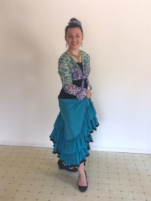 Star Styled Aquamarine Flamenco Skirt, Tribal Fusion Skirt