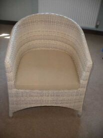white plastic wicker style chair - great condition