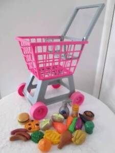 Children's Toy Shopping Trolley with Plastic Foods. Morayfield Caboolture Area Preview