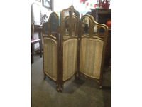 Gorgeous Antique French Style Carved Gilt & Mirror 3 Panel Fabric Fire Screen
