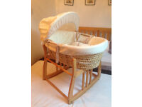 Mosses Basket with cream cover, mattress and wooden stand, good condition hardly used.