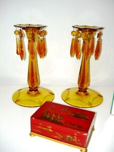 1940s AMBER GLASS Czechoslovakian ETCHED CANDLE HOLDERS LUSTRES Cambridge Kitchener Area image 1
