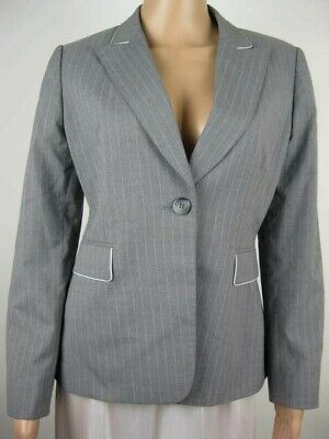 TAHARI Women's Pant Suit Size 6 Petite Grey Pinstripe Fully Lined White Piping ()