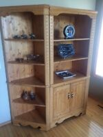 Custom build solid notty pine entertainment/shelving units