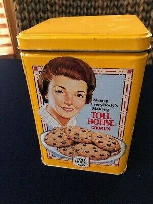 Nestle Toll House Cookies Collector Yellow Metal Tin 1939 1942 1954 Vintage