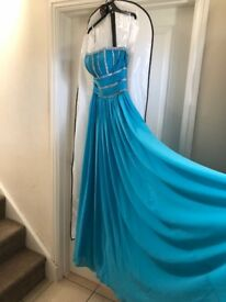 As new blue strapless prom dress
