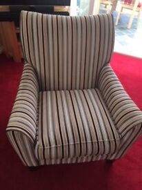 ARMCHAIRS -- MATCHING PAIR - MODERN STRIPED MATERIAL