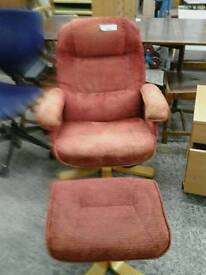Red Febric Chair With Footstool