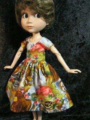 Funny Jungle Doll dress and Doll hat for the child body doll by Peggy Feltrope
