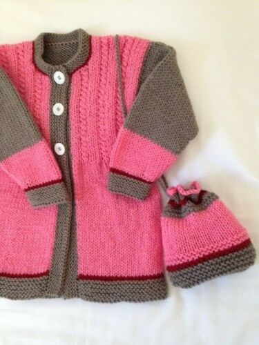 sweater girls 5-6 years new cardigan and bag hand knitted color grey-pink