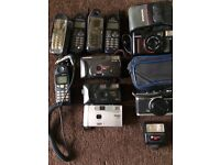 Assorted old cameras & mobile phones