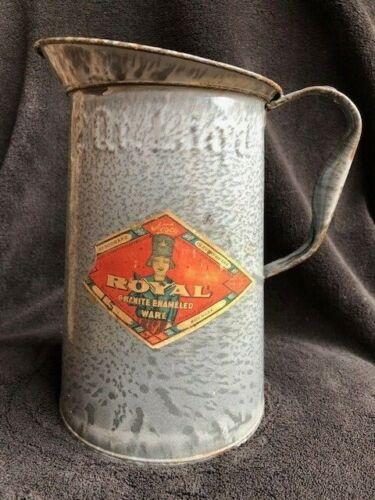 "Gray Granite Ware Enamel Pitcher 8"" with NESCO Paper Label - 2 QT. 1912"